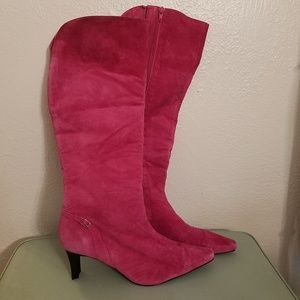 Hot Pink Suede Leather Knee High Heel Boots